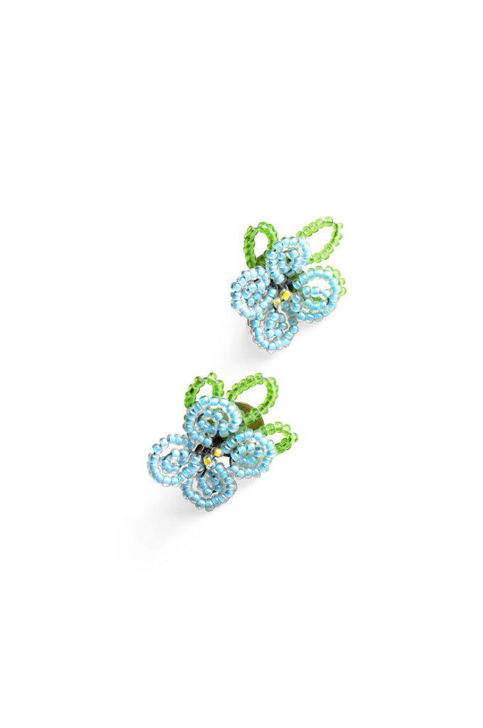 Blue Beaded Floral Clip-on Earrings