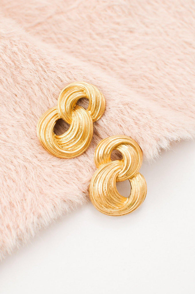 Gold Knotted Pierced Earrings
