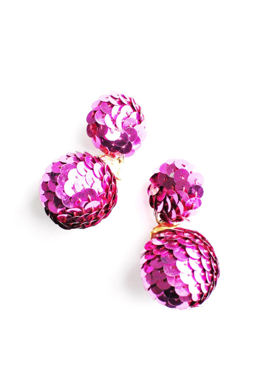 Pink Sequin Pierced Earrings