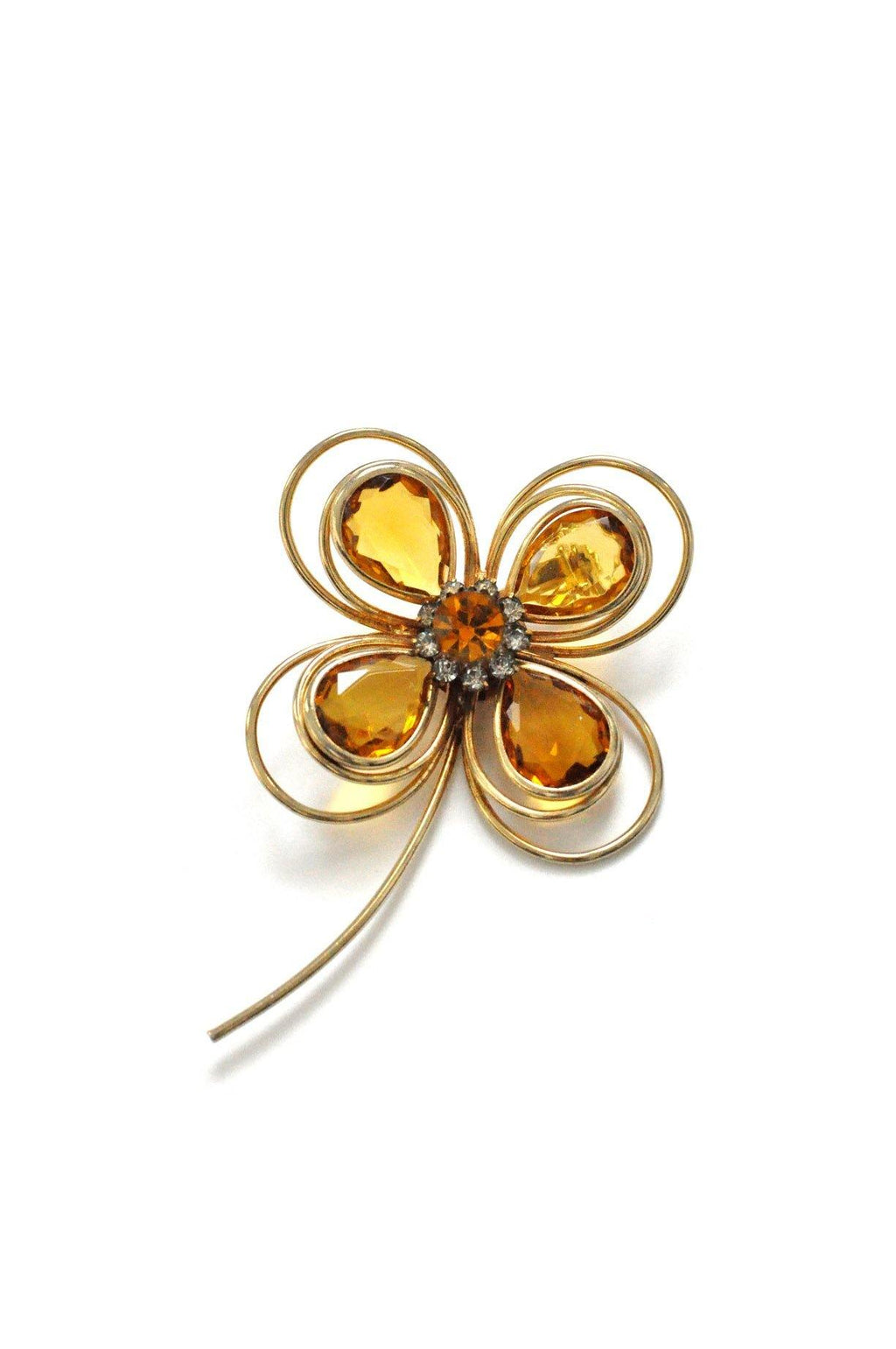 Amber Stem Brooch