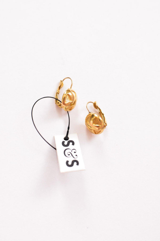 Gold X Pierced Earrings