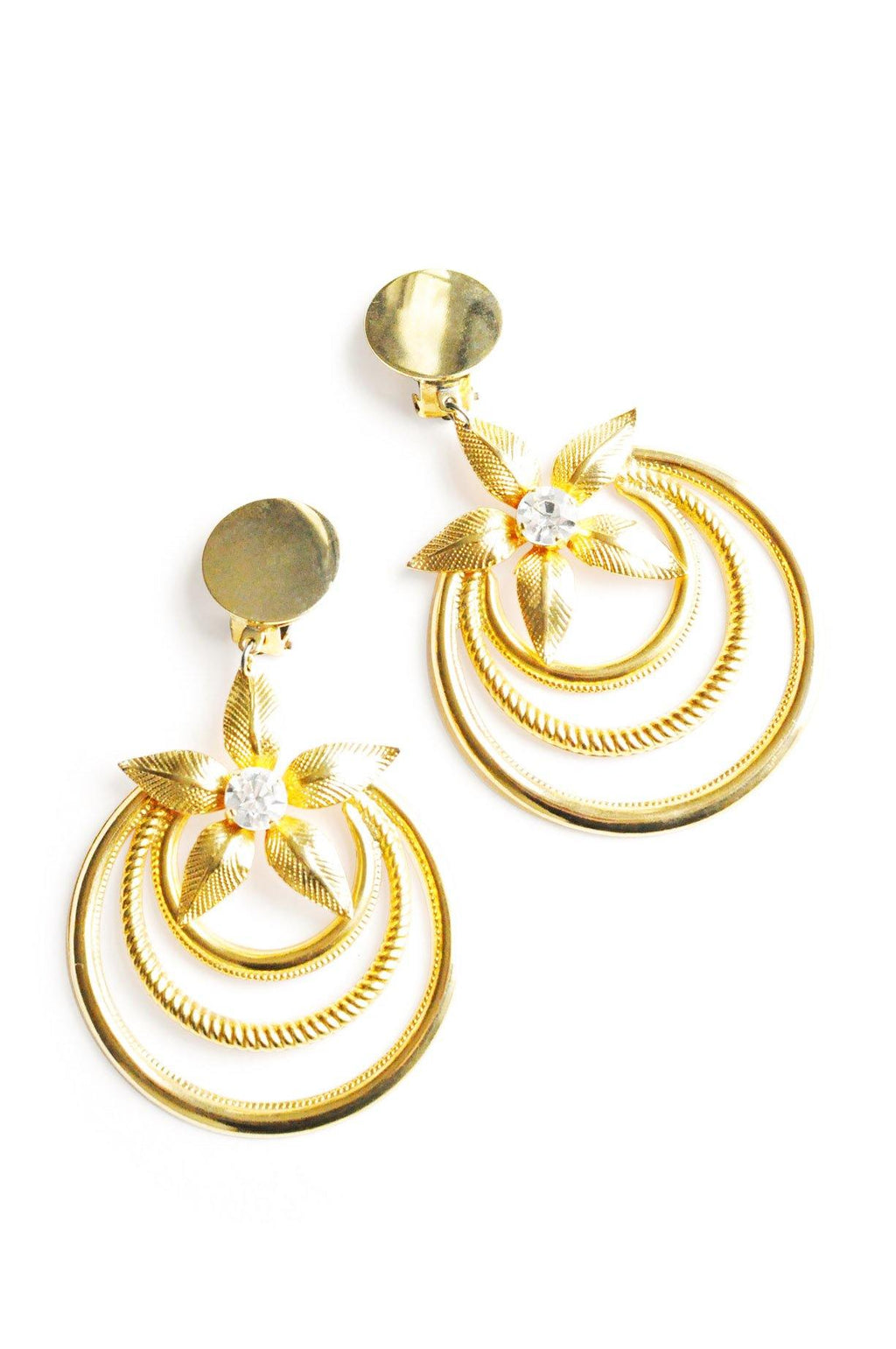 Gold Flower Hoop Clip-On Earrings
