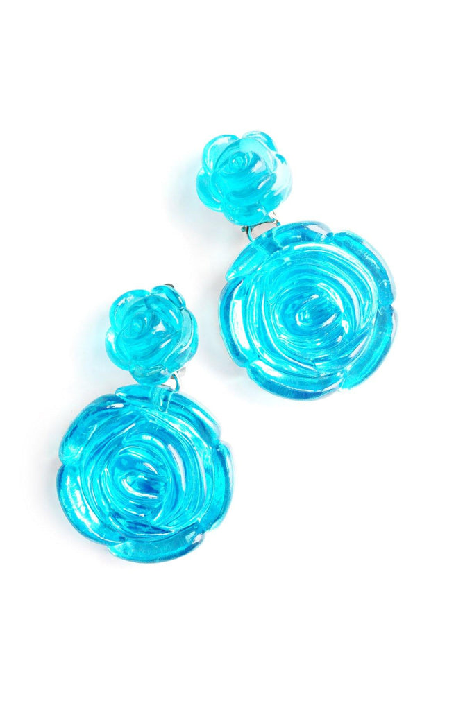Blue Floral Clip-on Earrings