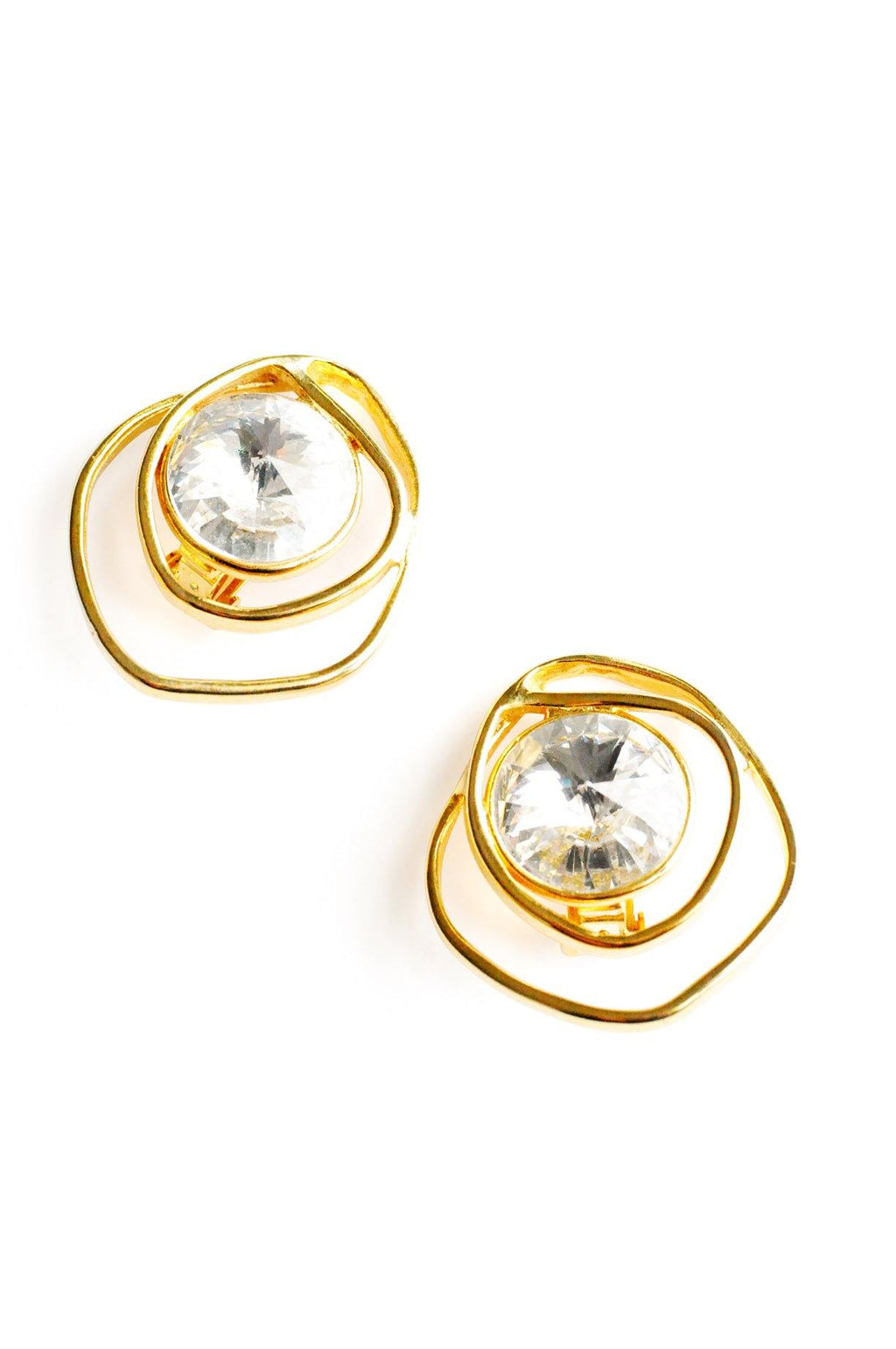 Rhinestone with Gold Clip-on Earrings