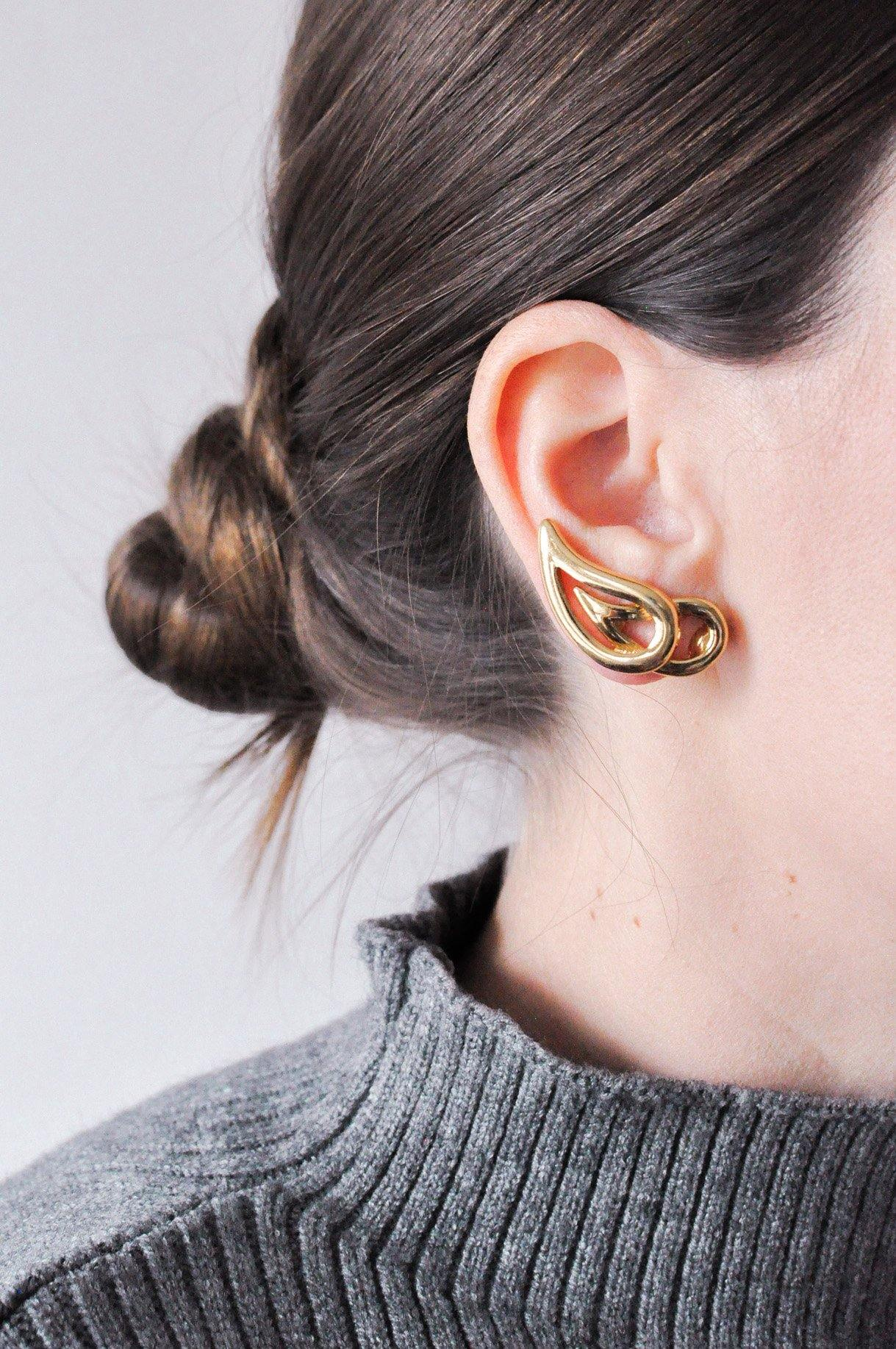 Stacked Crawler Clip-on Earrings