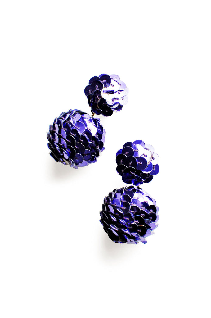 Purple Sequin Pierced Earrings