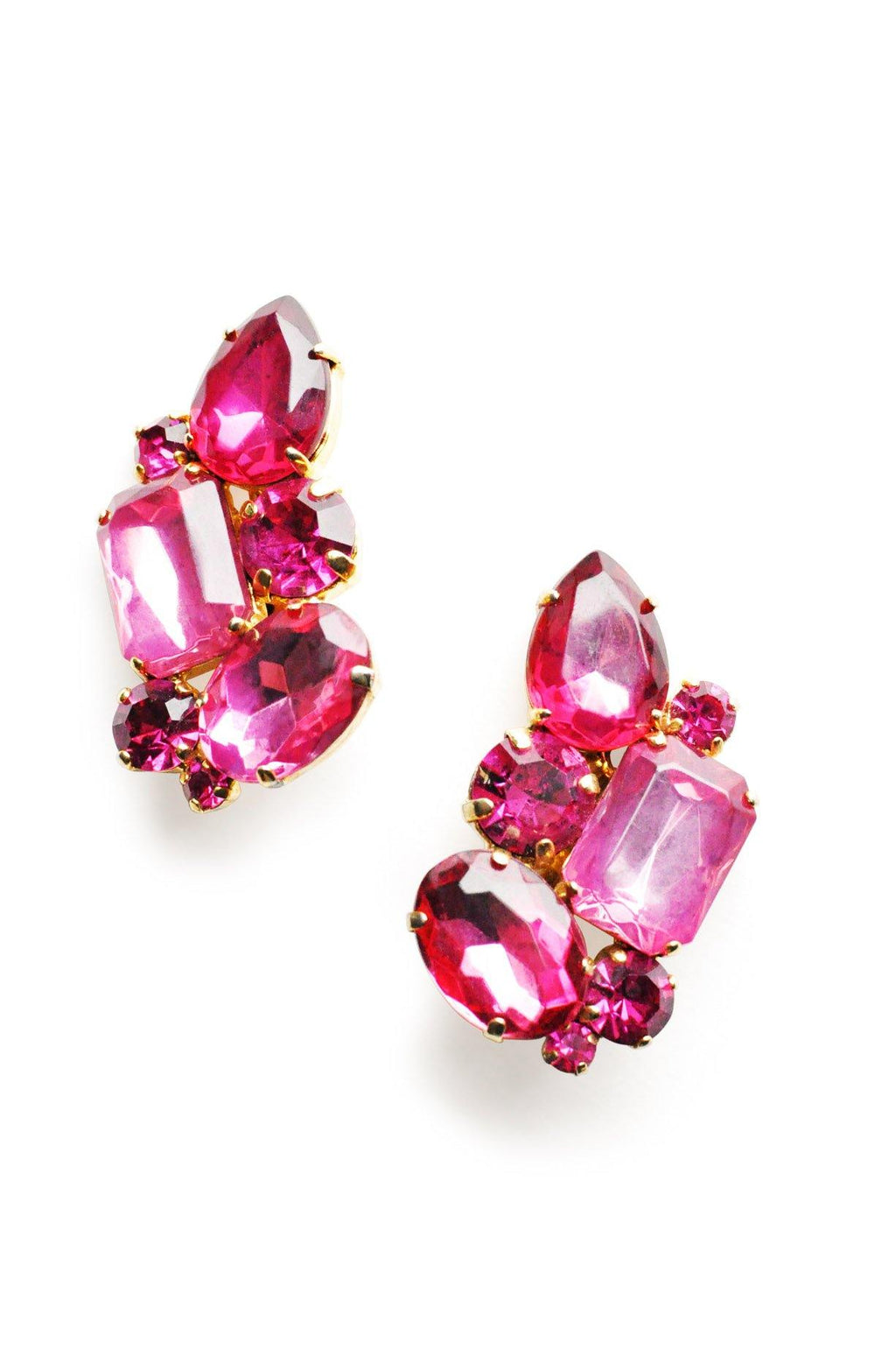 Purple Rhinestone Clip-on Earrings