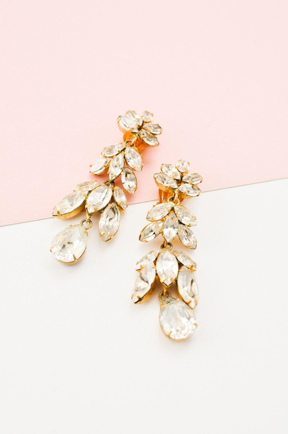 Pretty Rhinestone Drop Clip-on Earrings