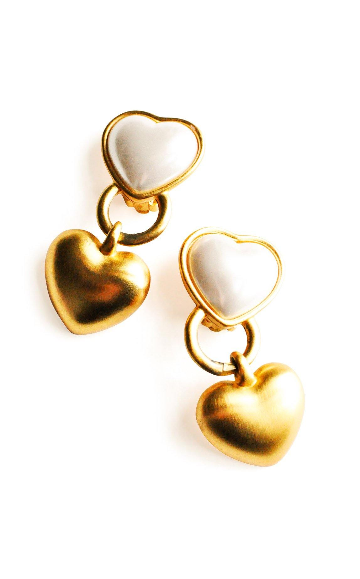 Pearl Heart Clip-on Earrings