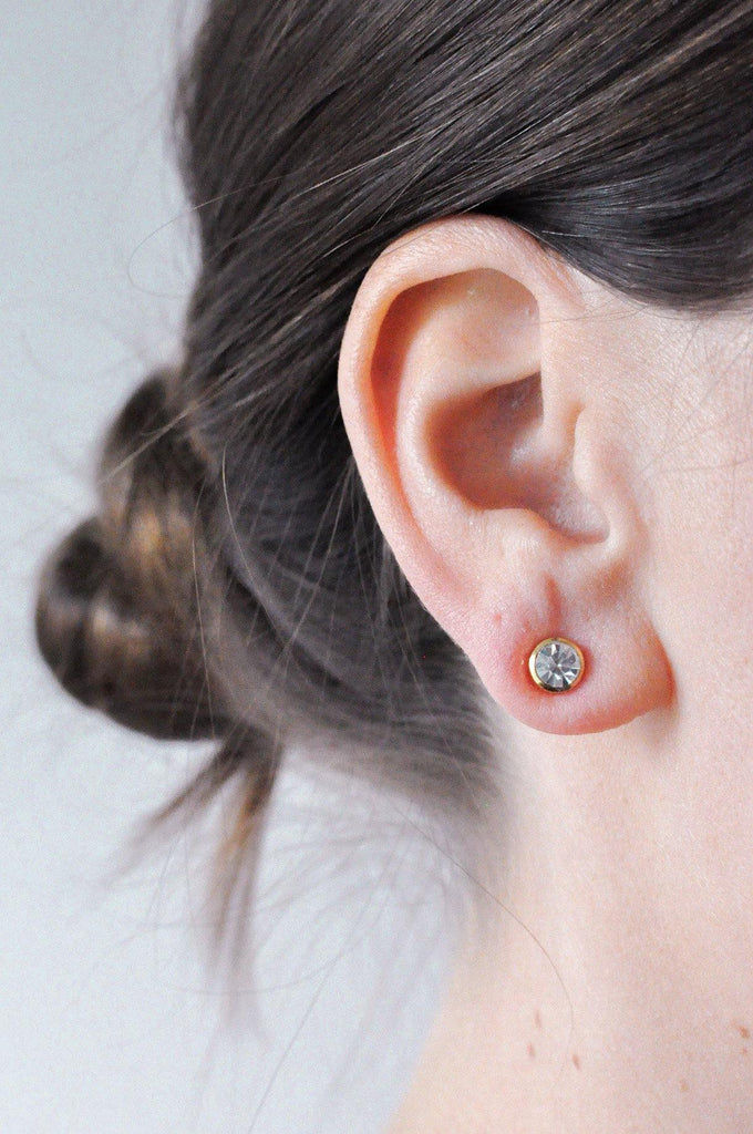 Classic Rhinestone Pierced Earrings