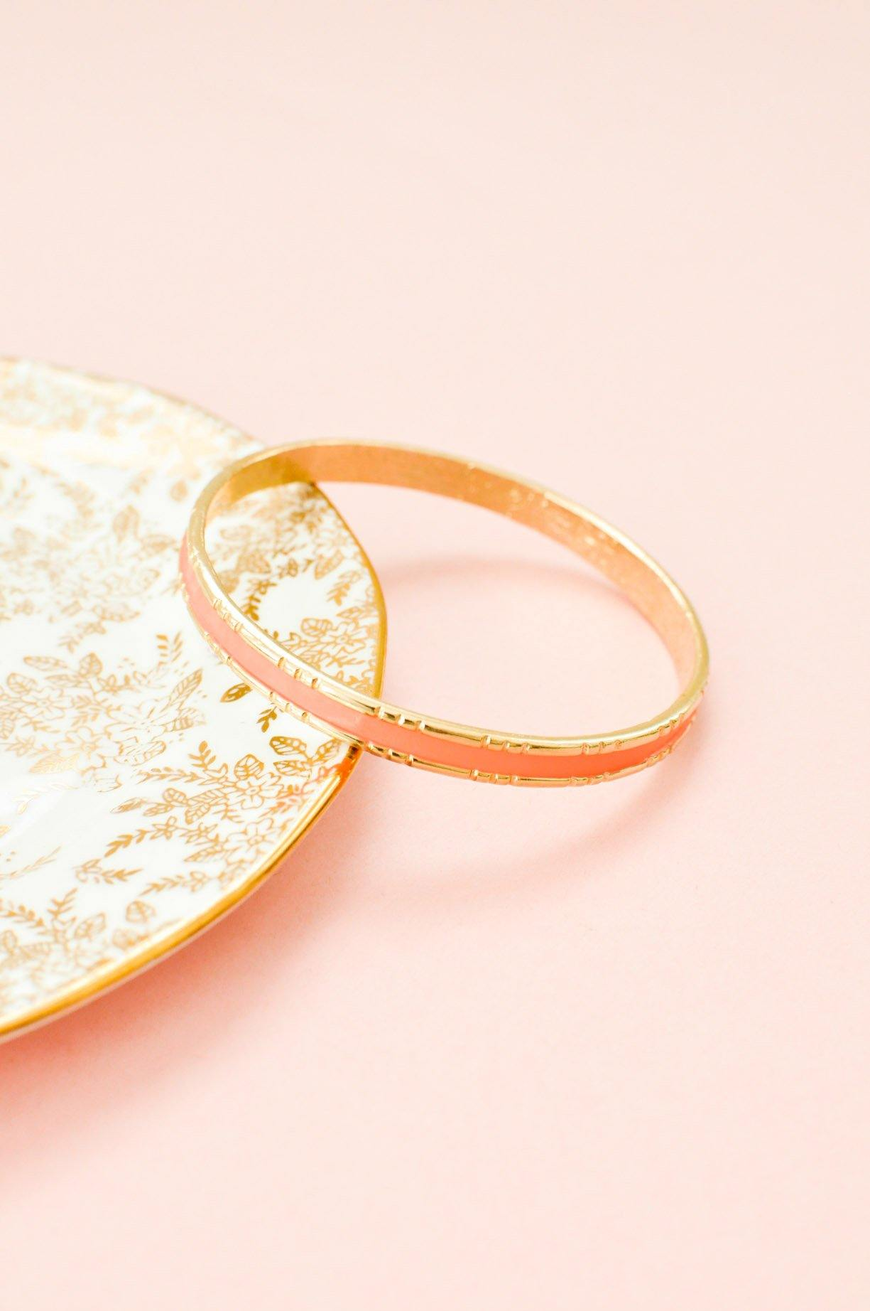 Peach Enamel Bangle Bracelet