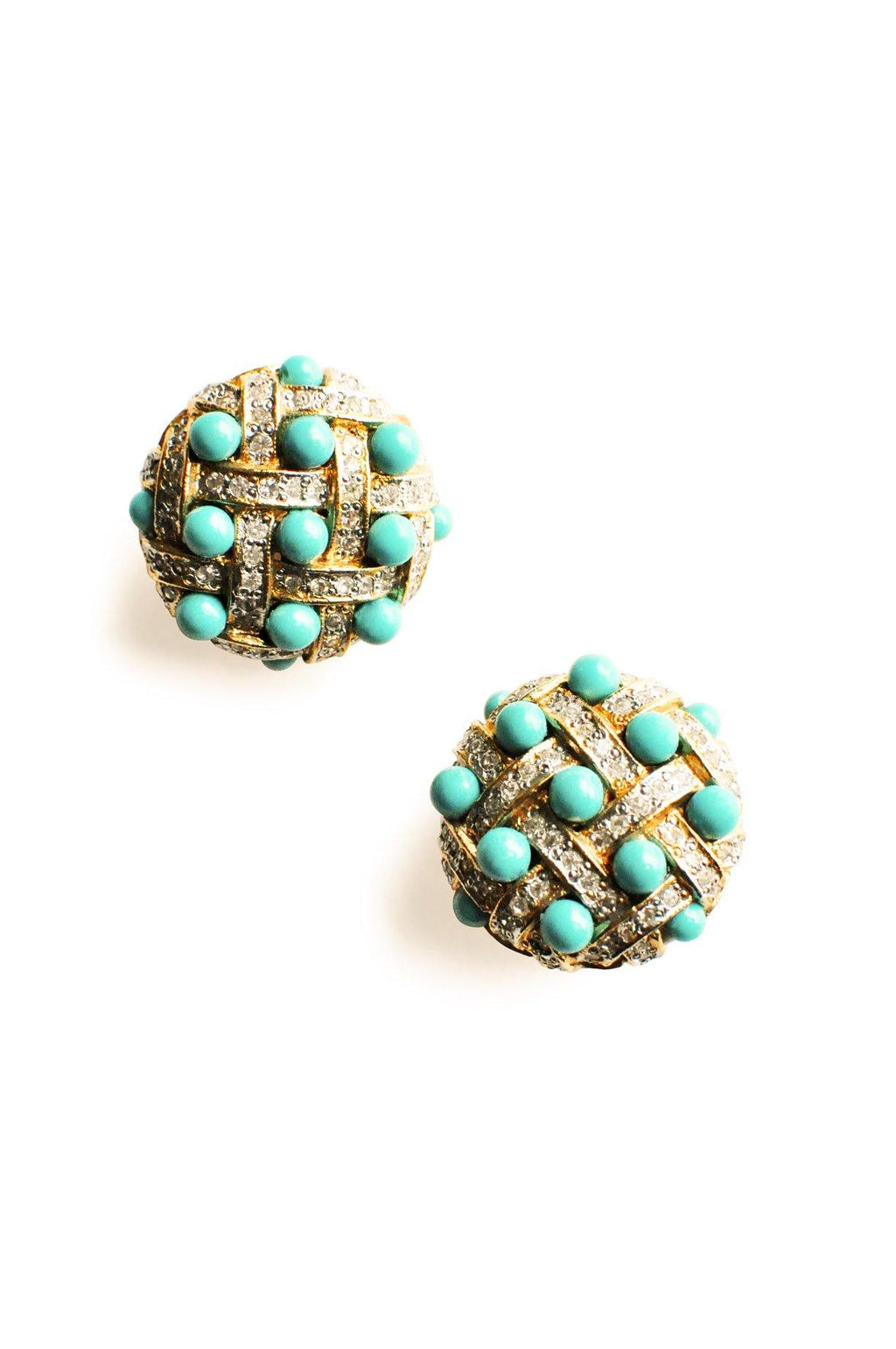 Rhinestone Dome Clip-On Earrings