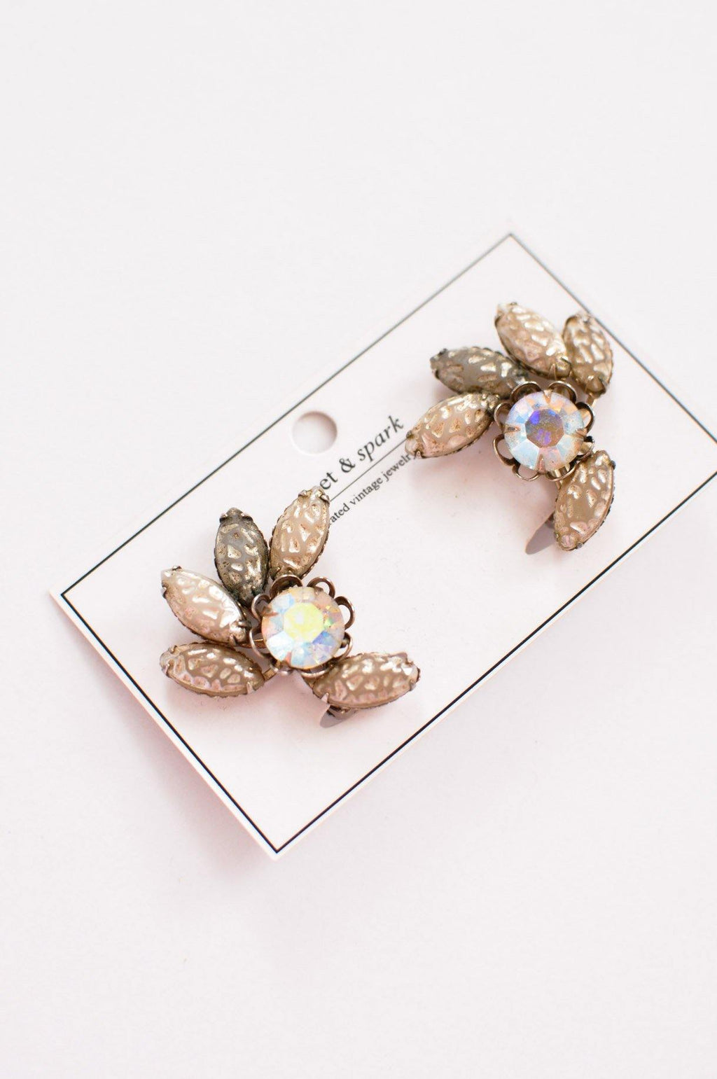 Neutral Rhinestone Clip-on Earrings