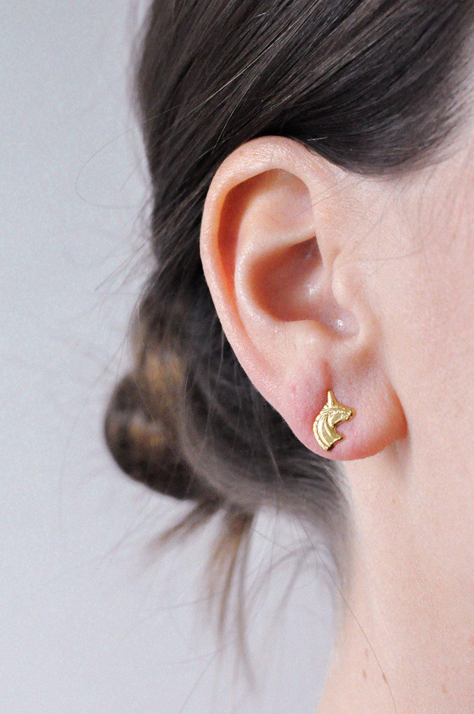 Dainty Unicorn Pierced Earrings