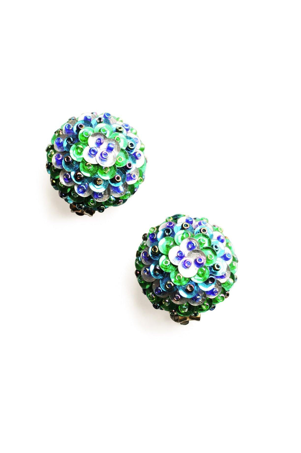 Green & Blue Sequin Clip-On Earrings