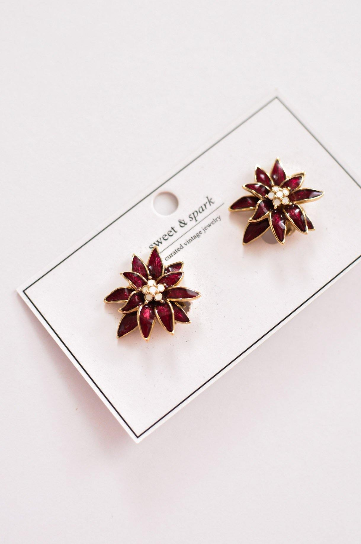 Poinsettia Clip-on Earrings