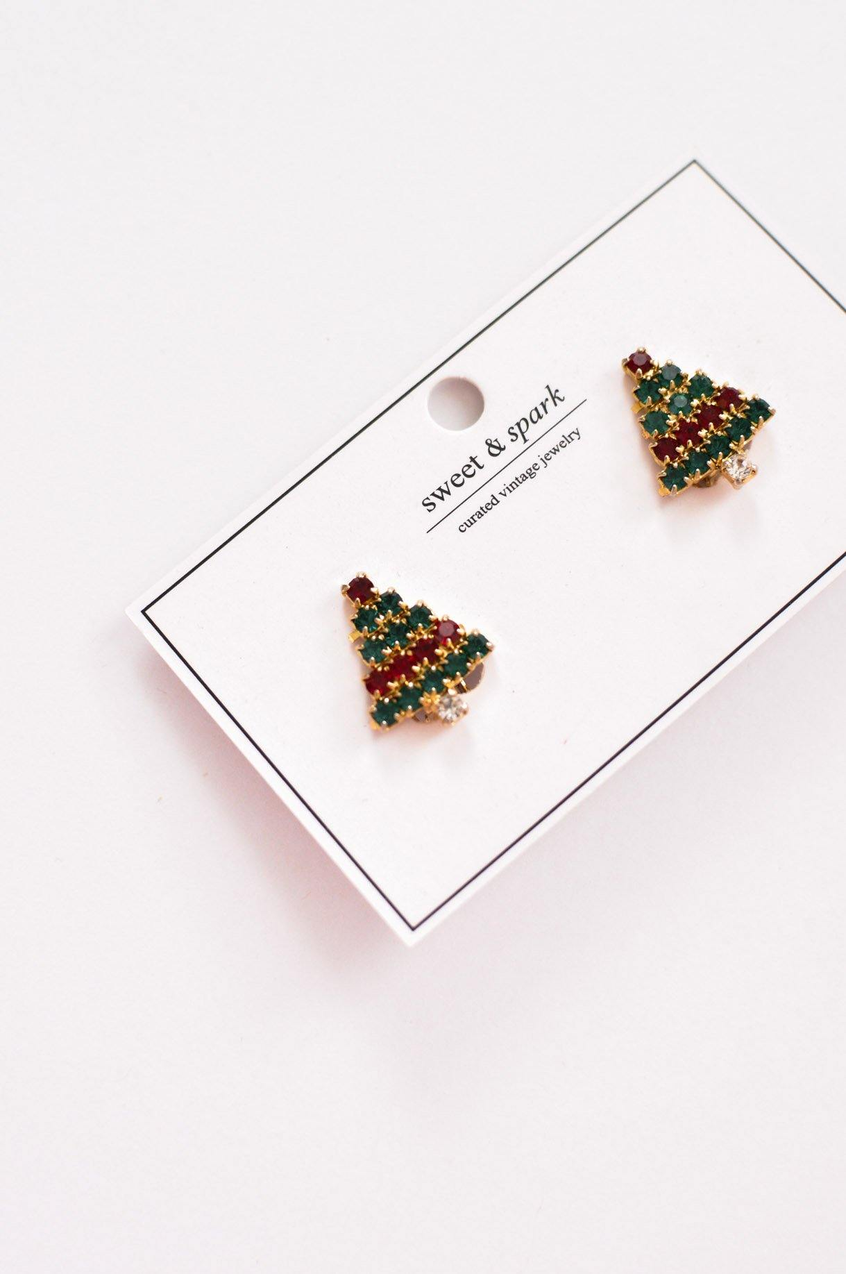 Rhinestone Christmas Tree Clip-on Earrings