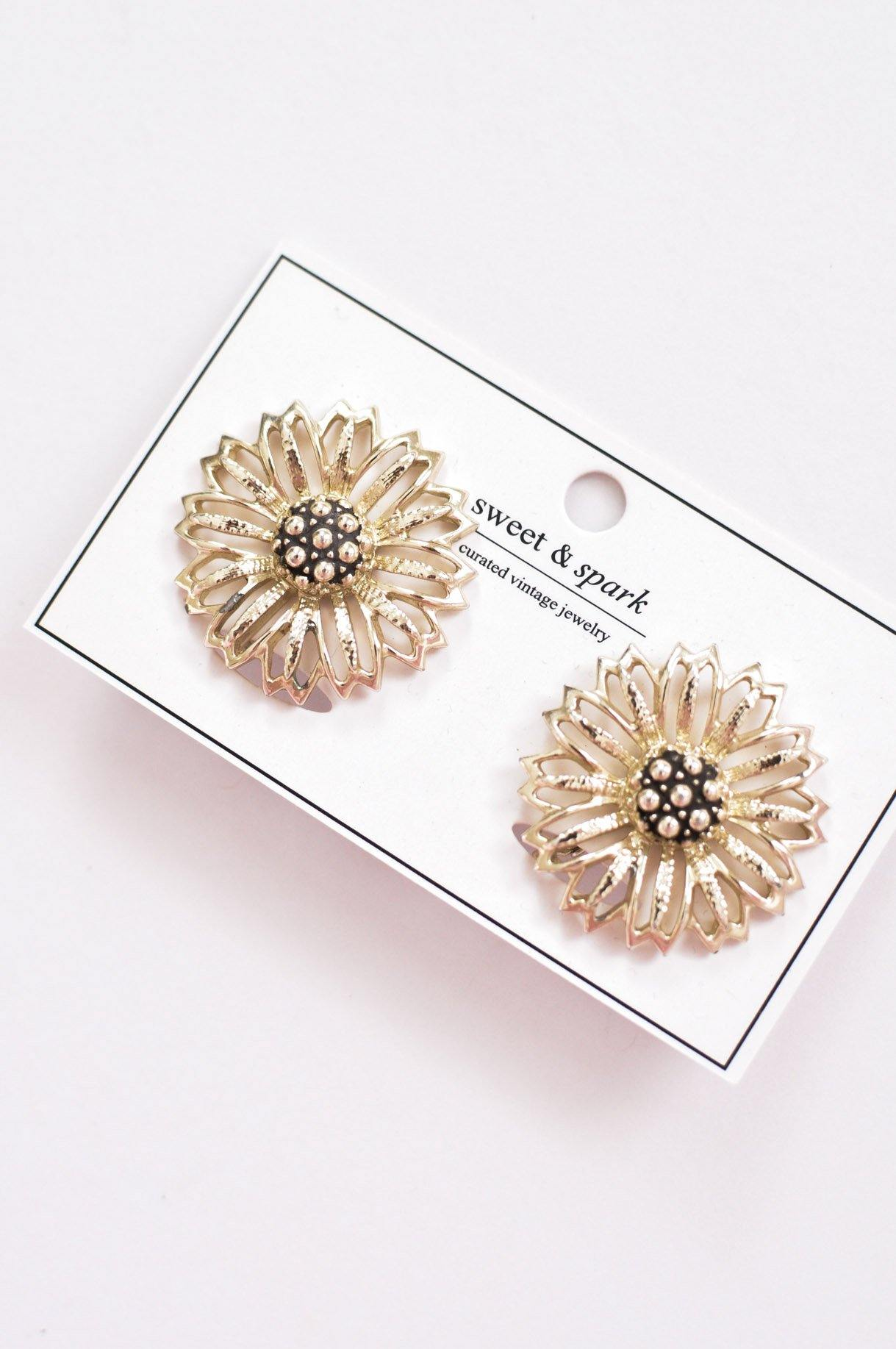 Statement Sunflower Clip-on Earrings