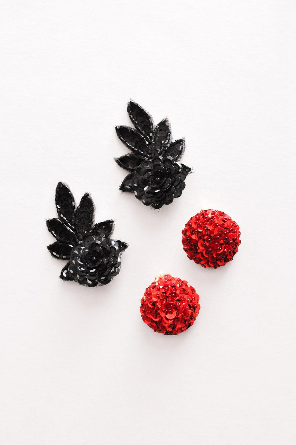 Red Sequin Clip-on Earrings