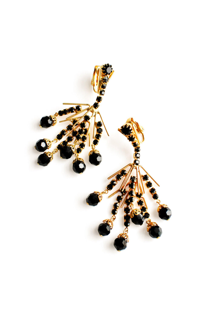 Gold and Black Rhinestone Clip-on Earrings
