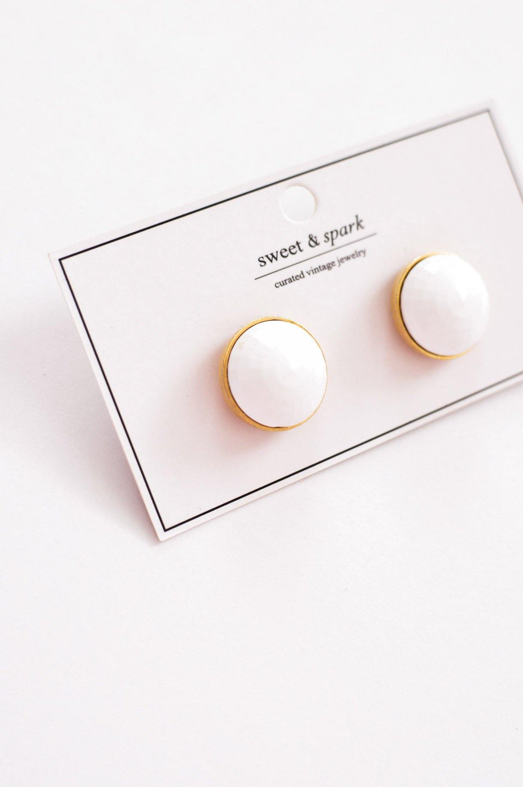 Monet White Clip-on Earrings