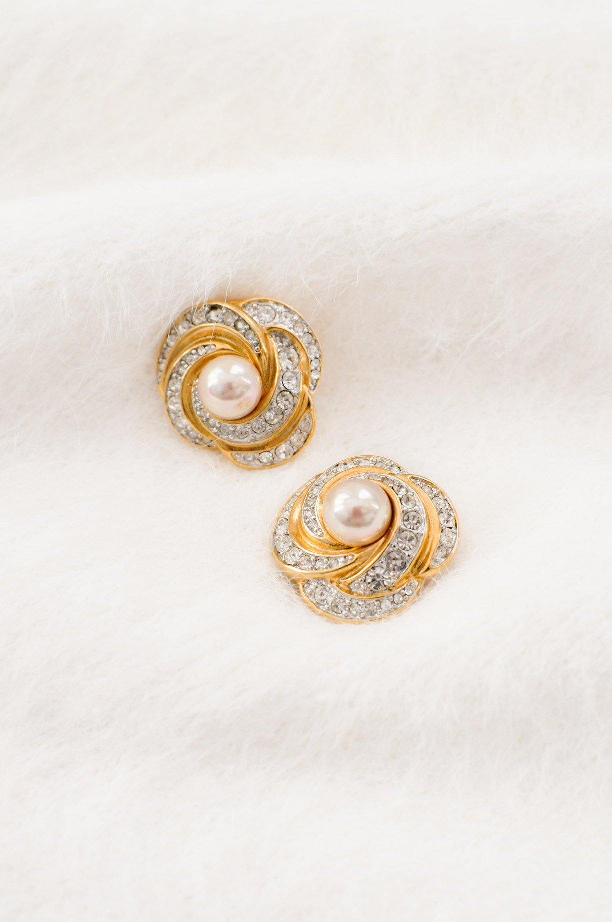 Pearl Rhinestone Knot Clip-on Earrings