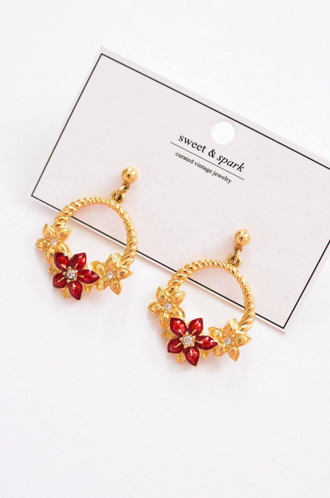 Floral Hoop Pierced Earrings
