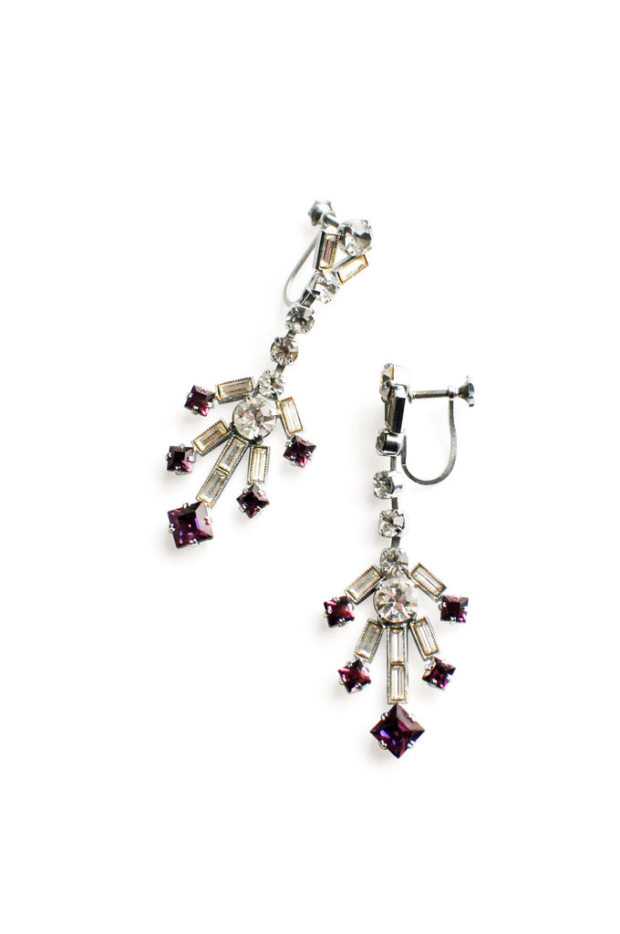 Rhinestone Drop Clip-On Earrings