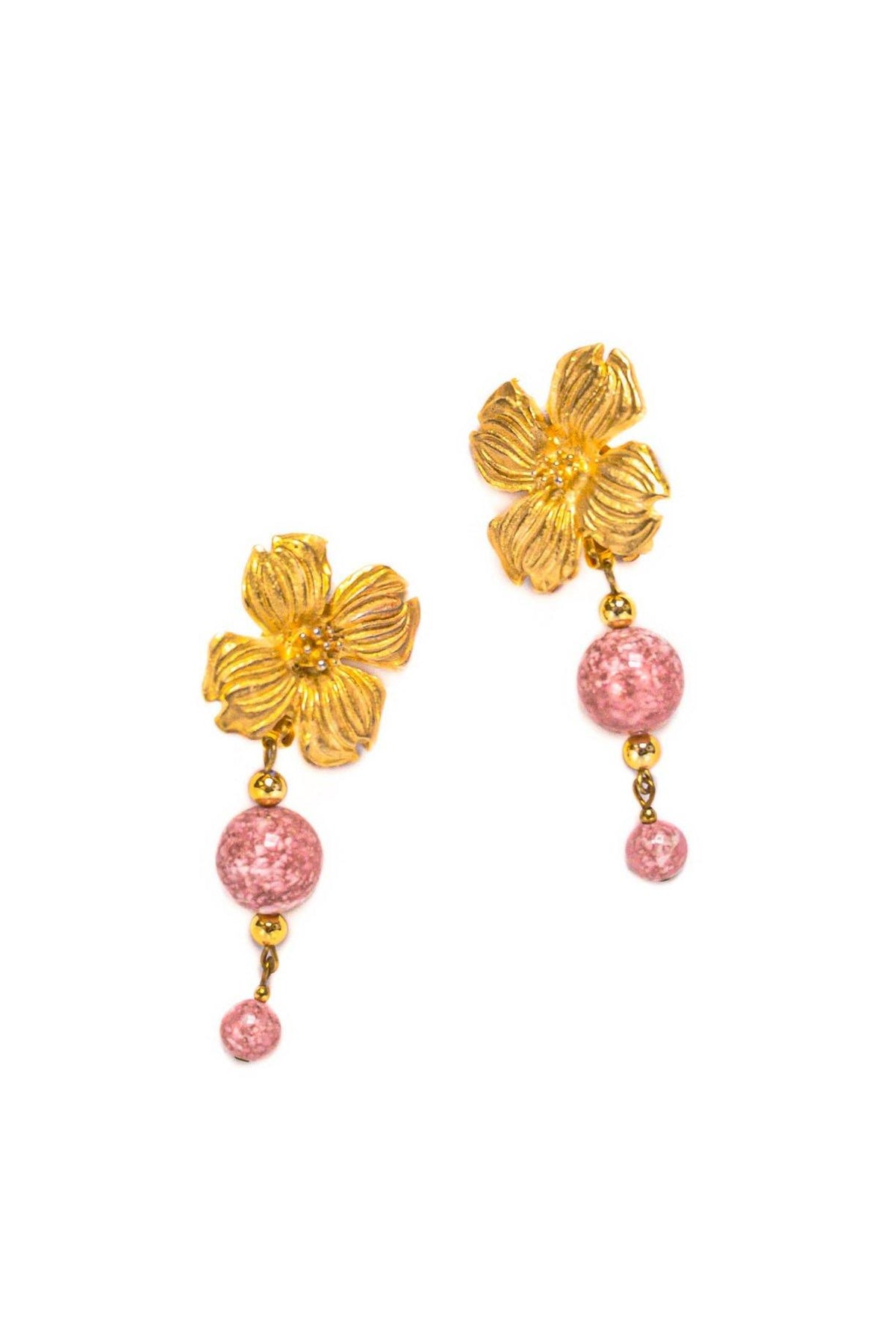 Vintage Statement Pink Floral Drop Clip-on Earrings from Sweet and Spark