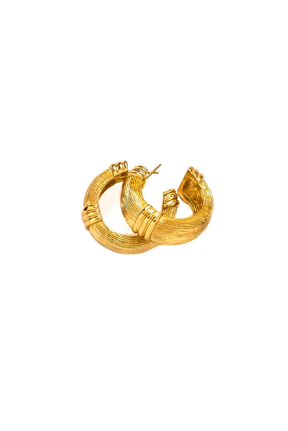 Vintage Christian Dior Textured Pierced Hoop Earrings from Sweet and Spark