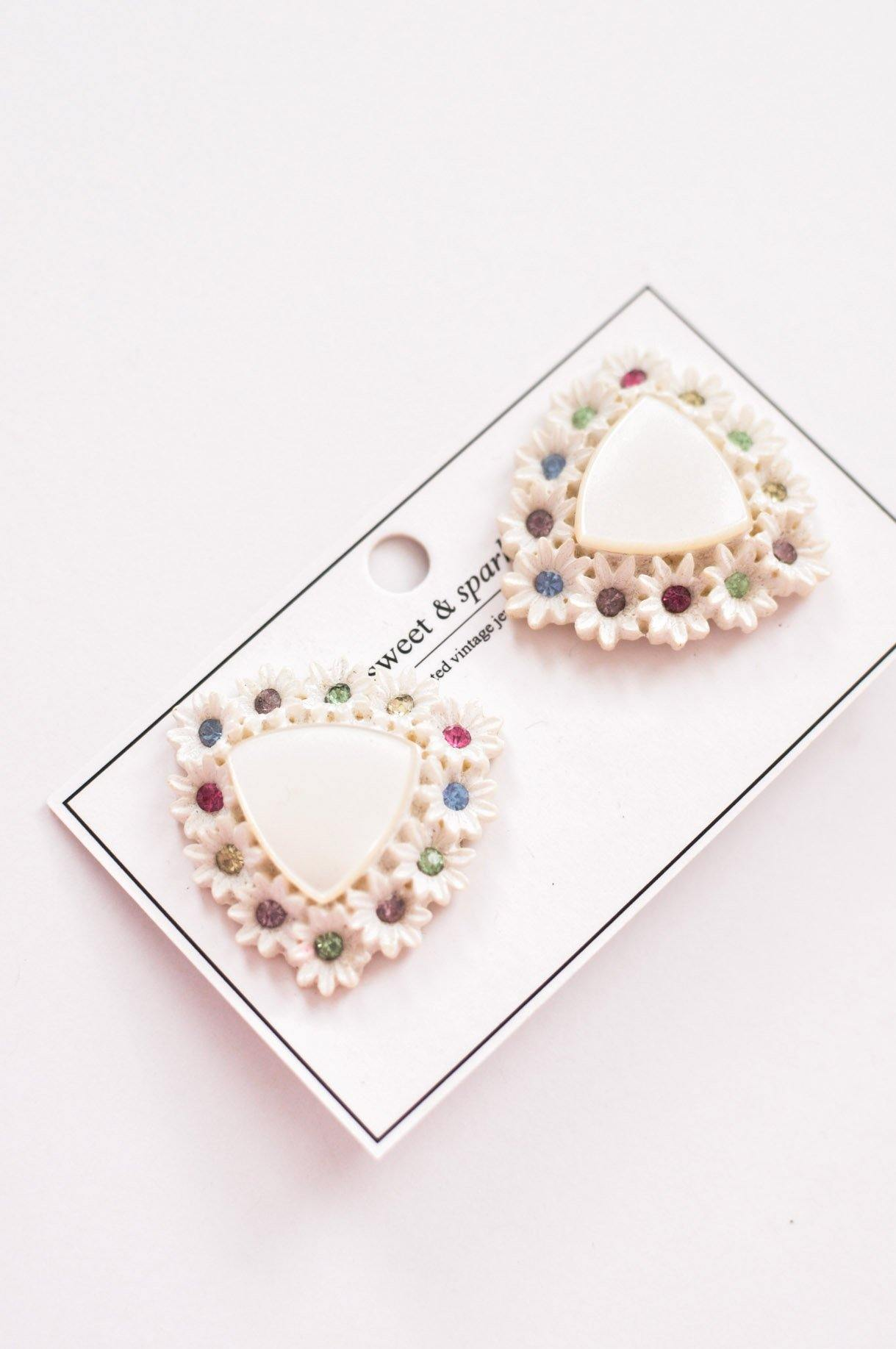 Enamel Floral Clip-on Earrings - Sweet & Spark