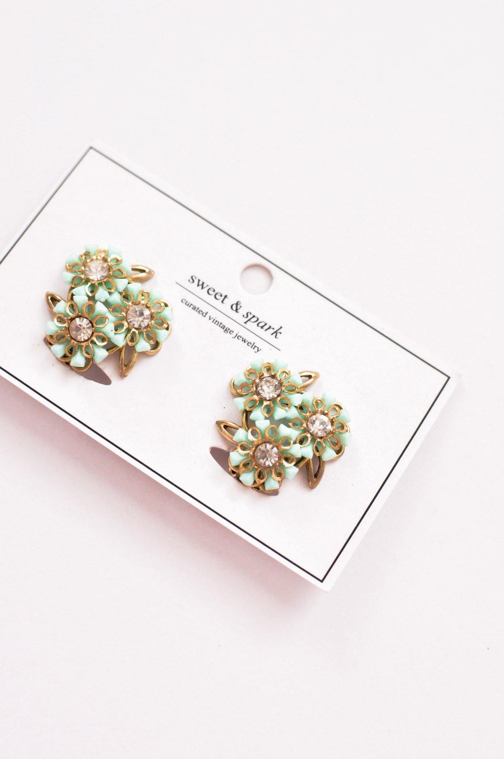 Green Floral Clip-on Earrings