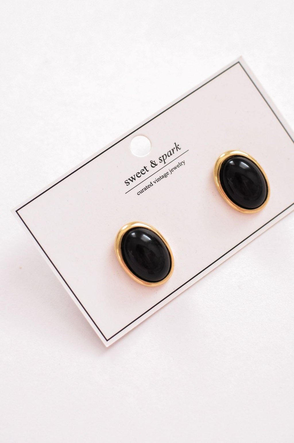 Black Gem Pierced Earrings