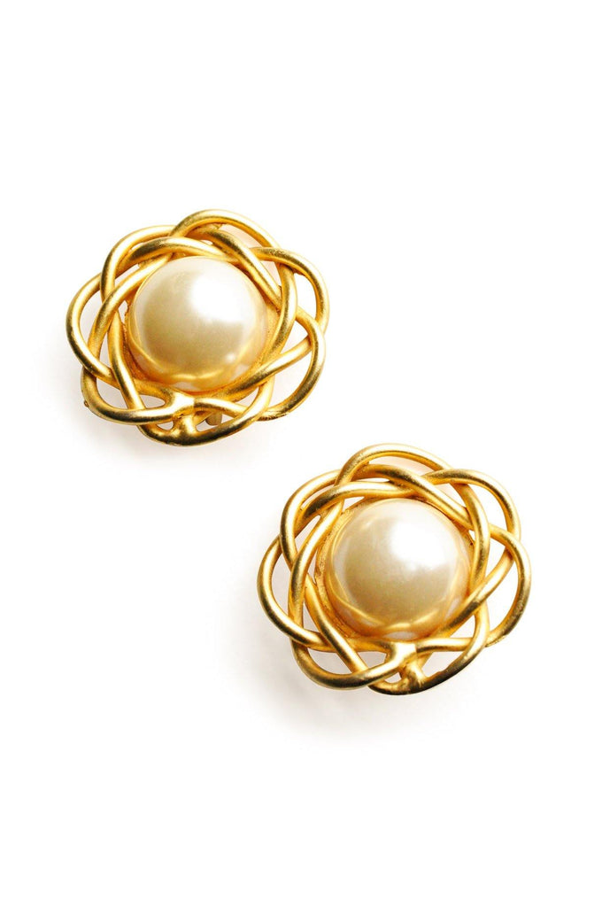 Norma Jean Pearl Gold Clip-on Earrings