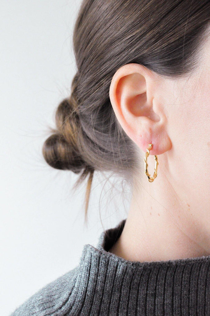 Rope Wrapped Hoop Pierced Earrings