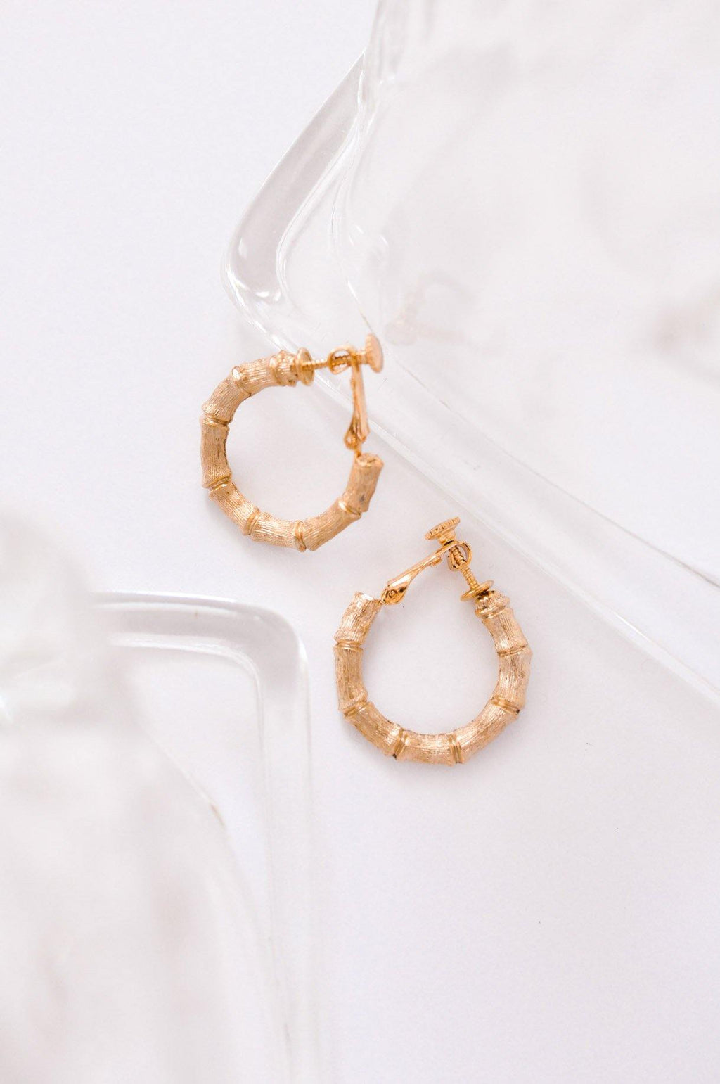 Bamboo Hoop Clip-on Earrings