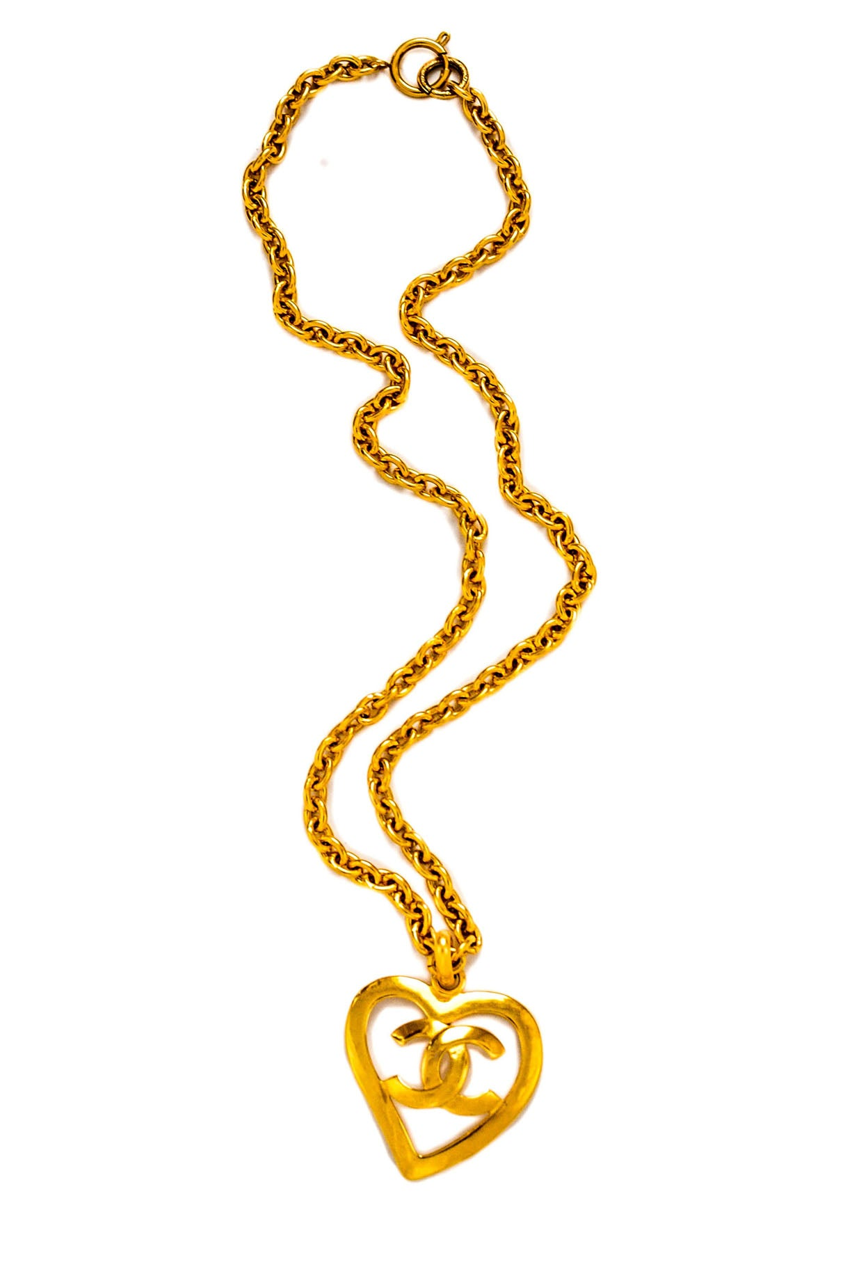 Vintage Chanel CC Heart Pendant Necklace from Sweet and Spark