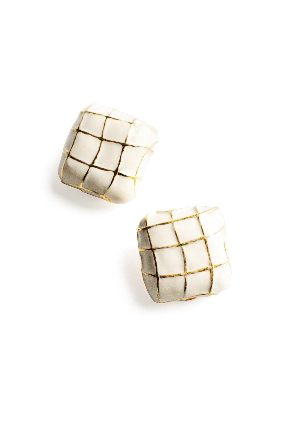 White Square Clip-on Earrings