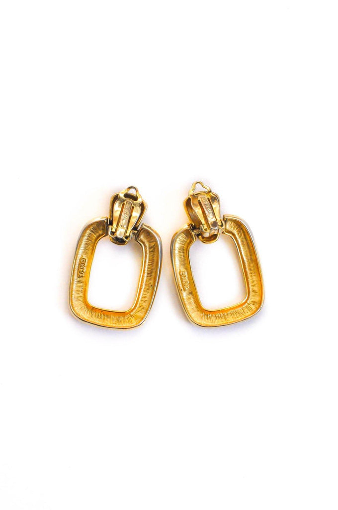 Rectangle Statement Hoop Clip-on Earrings