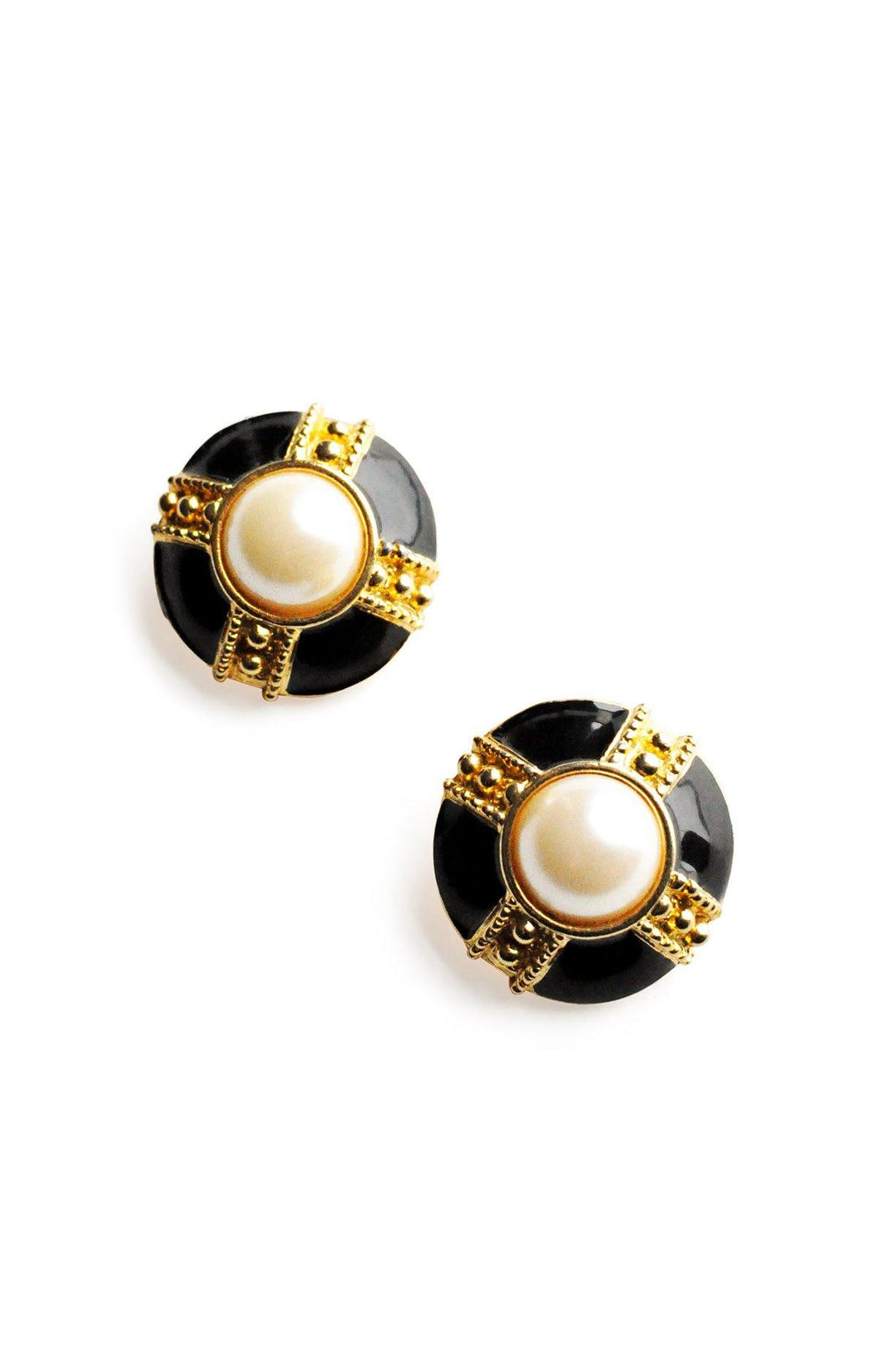 Pearl Enamel Clip-on Earrings