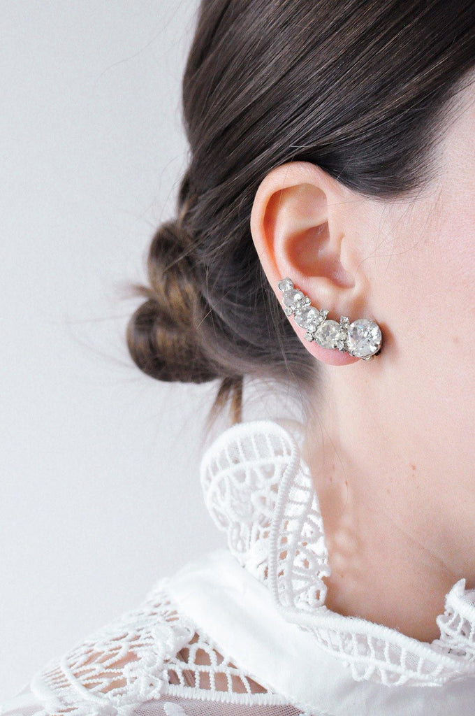 Rhinestone Wrapped Crawler Clip-on Earrings