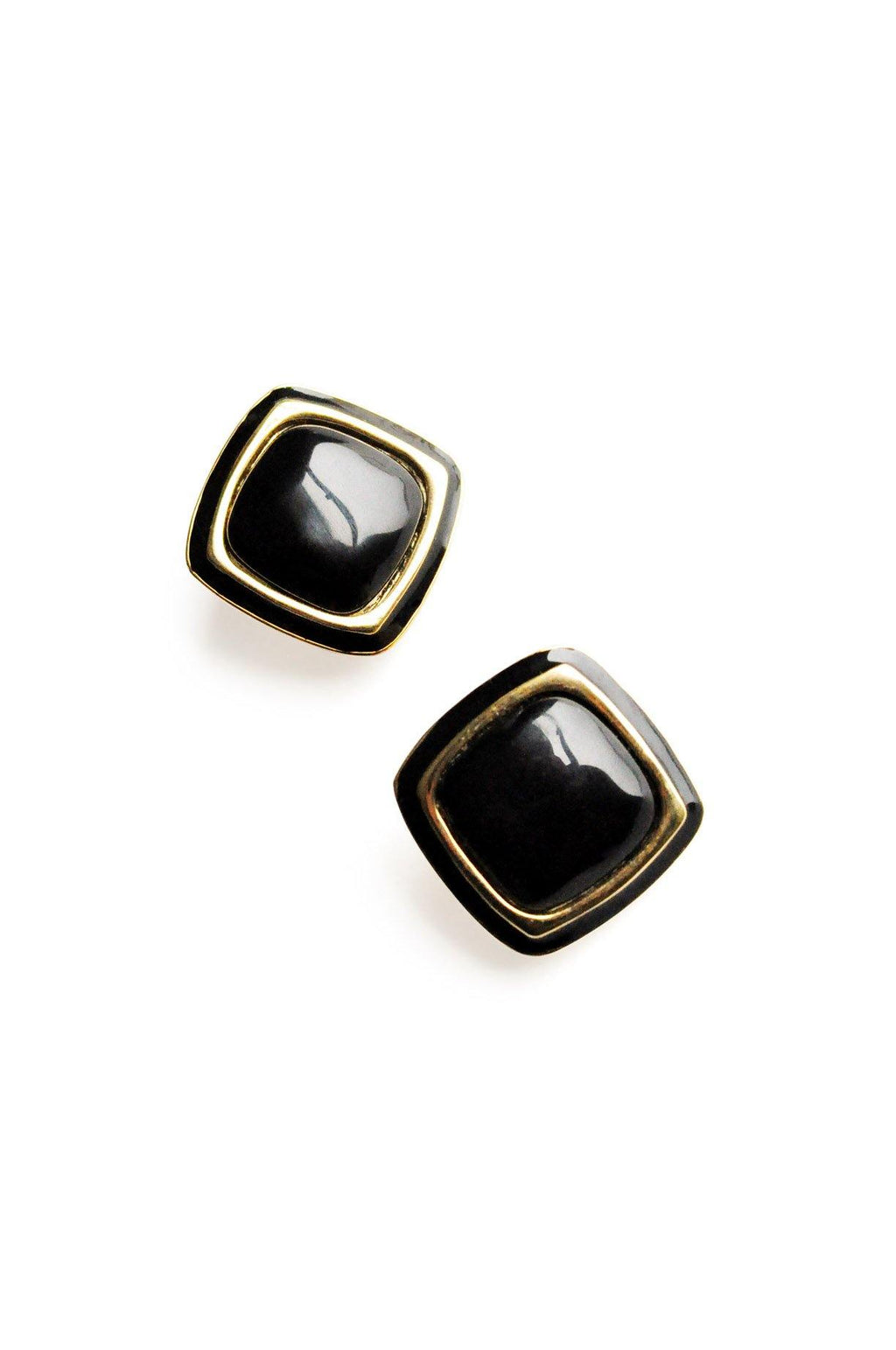 Black Enamel Square Clip-On Earrings