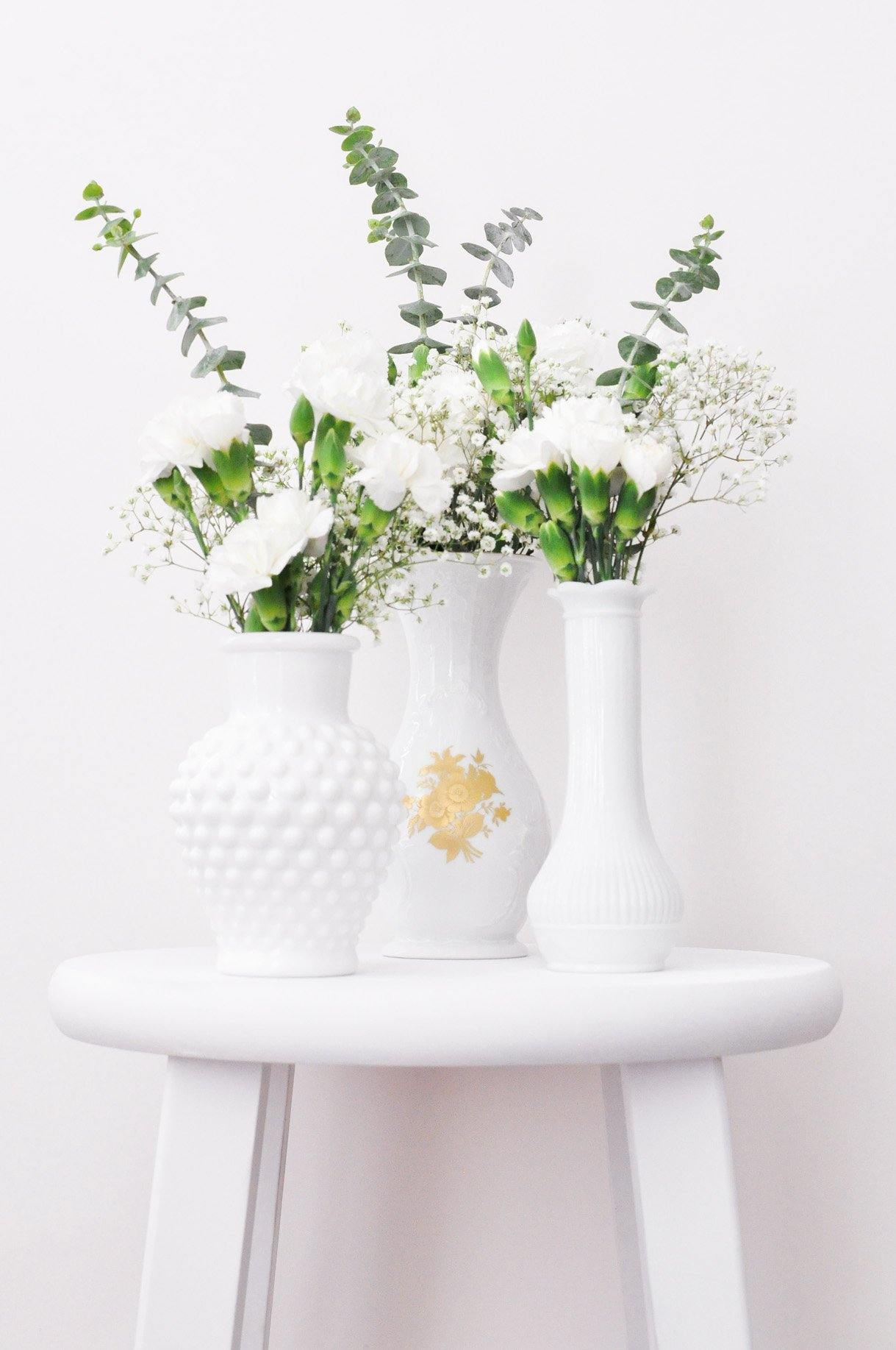 Scalloped Milk Glass Vase