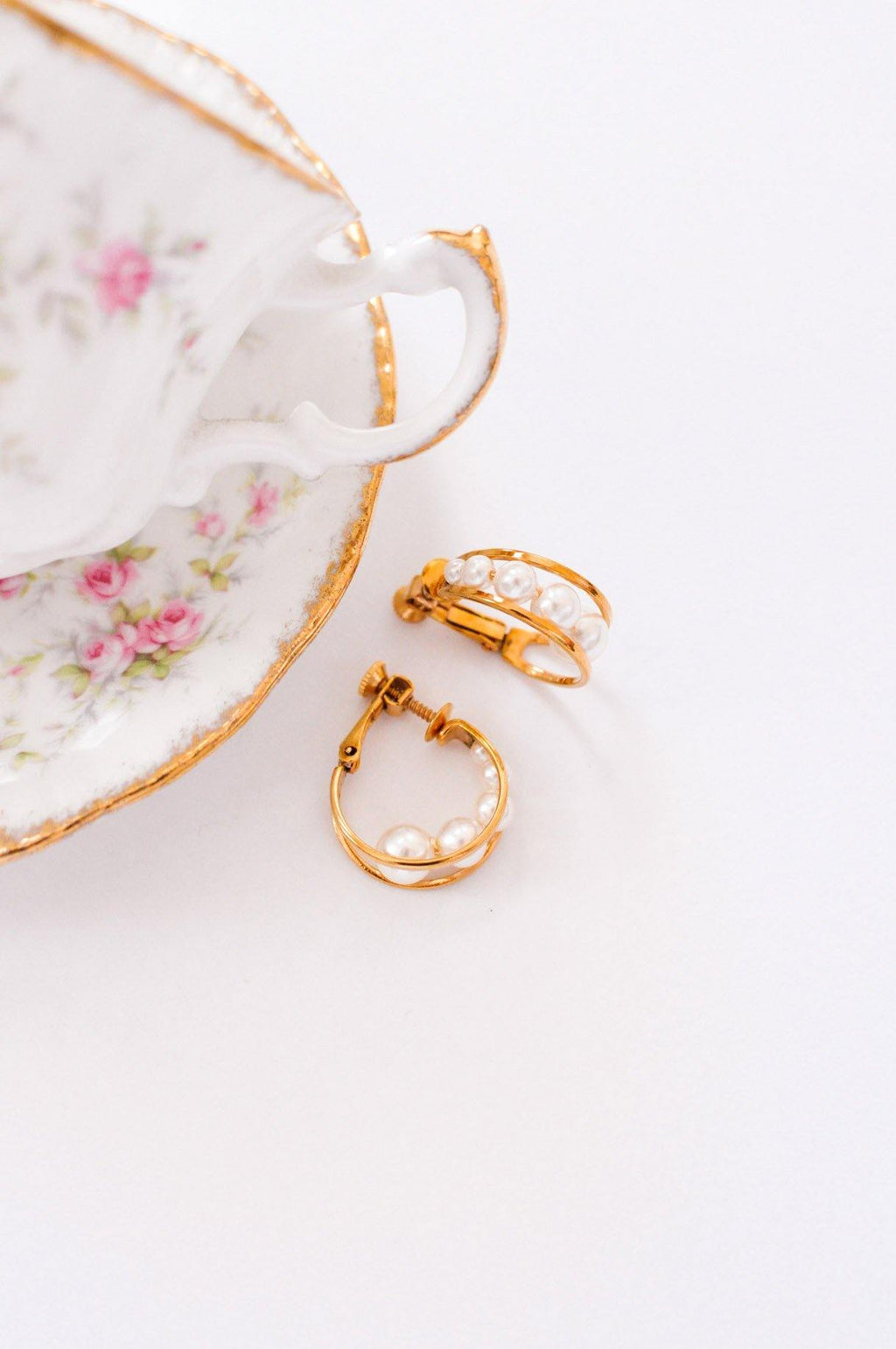 Pearl Hoop Clip-on Earrings