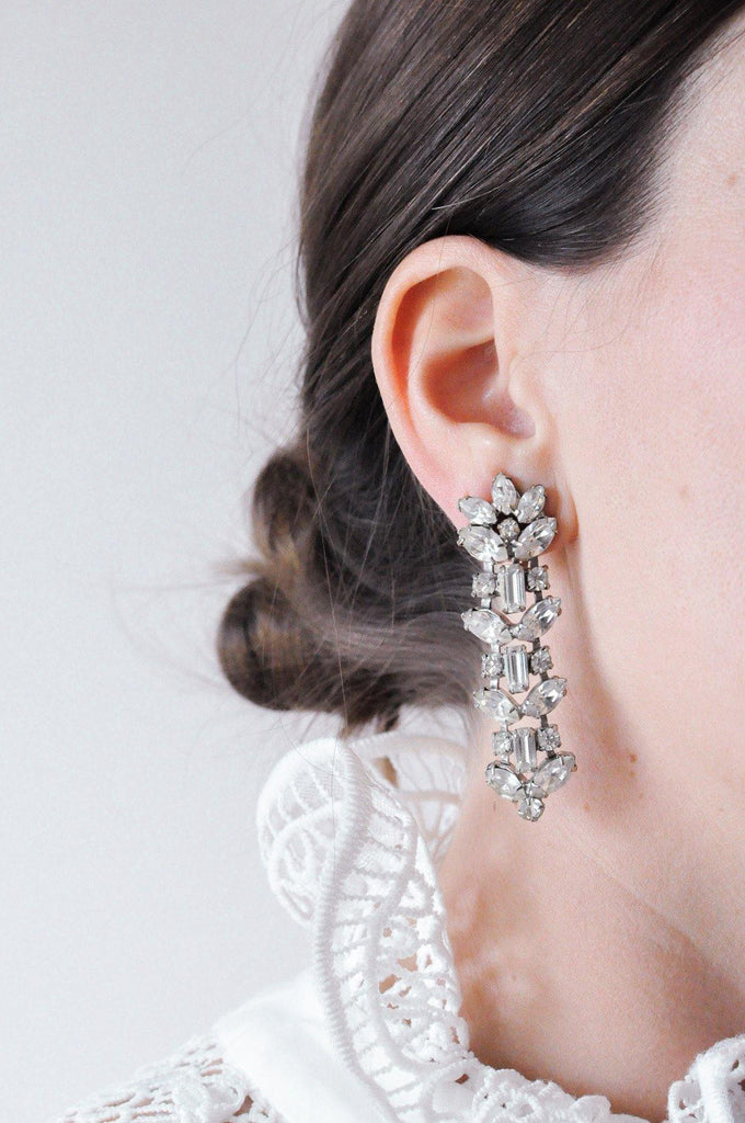 Clustered Drop Clip-on Earrings
