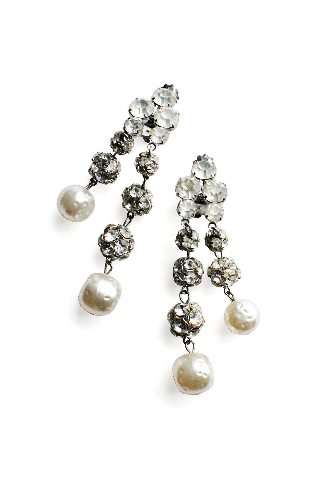 Rhinestone Ball Beads Fringe Clip-on Earrings