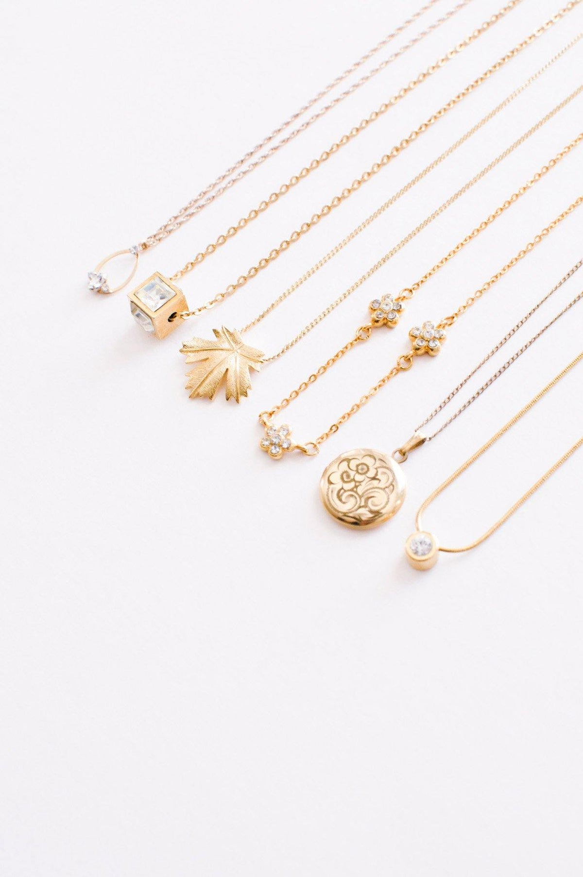 Vintage dainty pendant necklaces from Sweet & Spark.