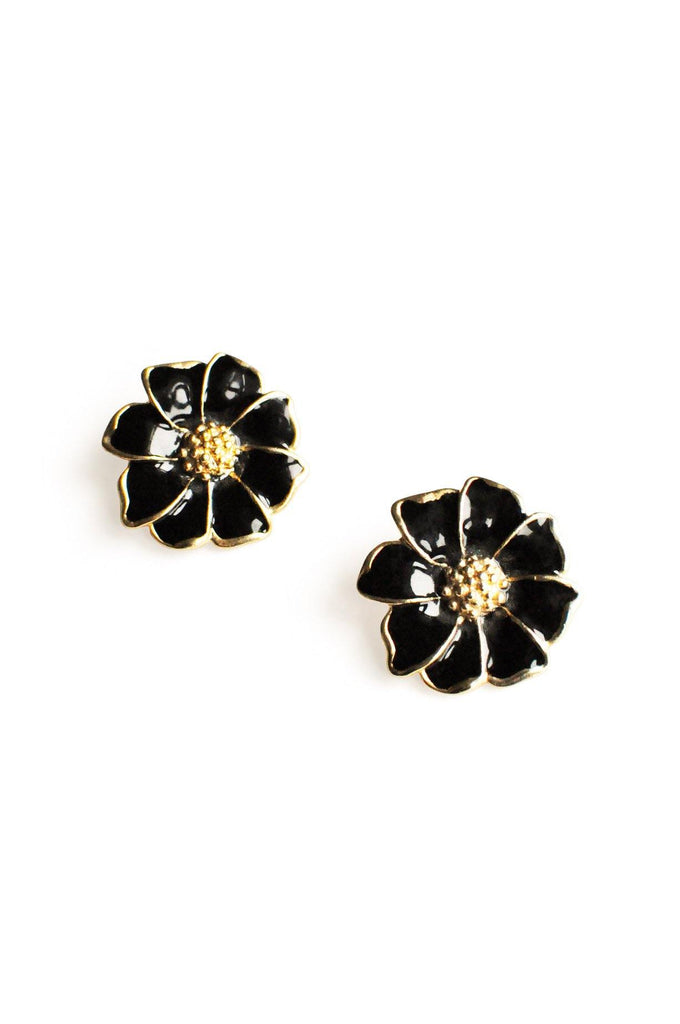 Black Enamel Floral Clip-On Earrings