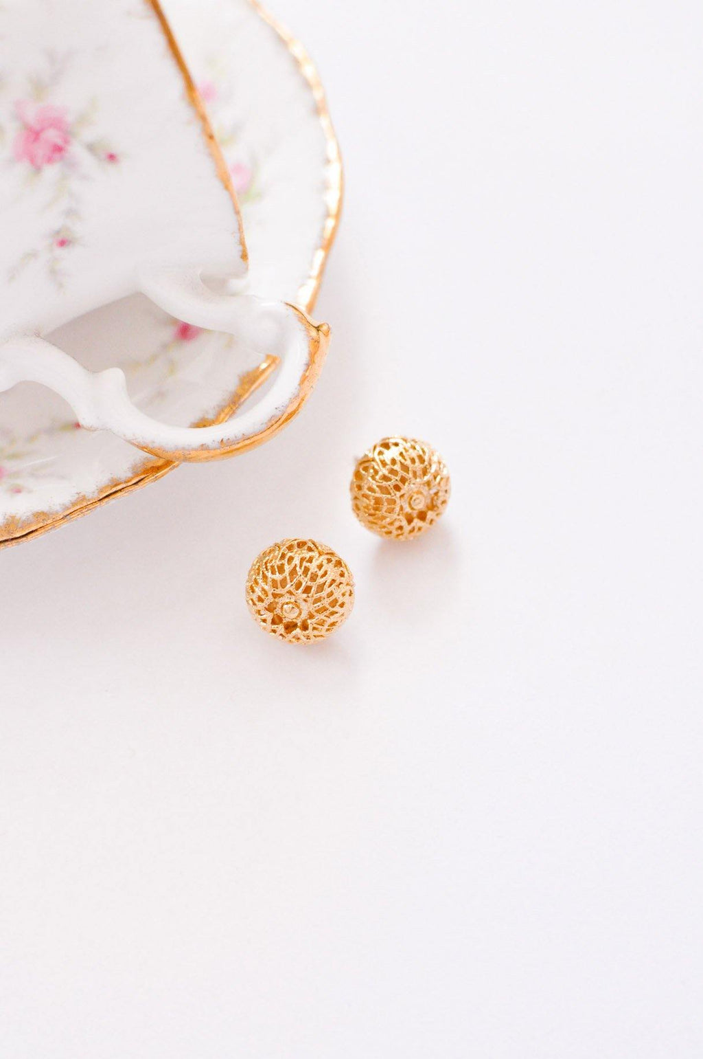 Filagree Ball Pierced Earrings