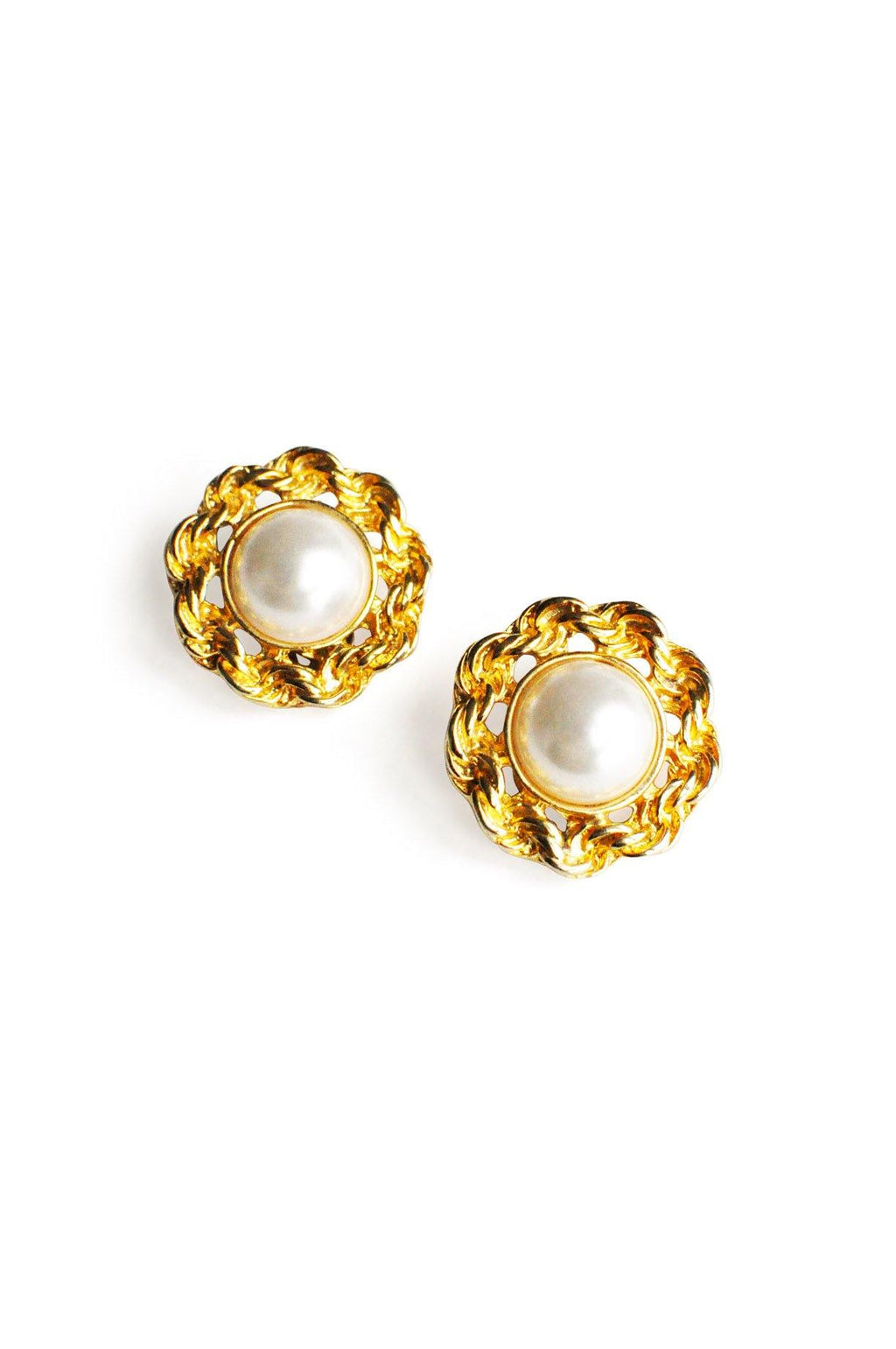 Pearl Button Clip-On Earrings
